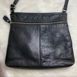 Margot Soft Leather Large Crossbody Black Purse